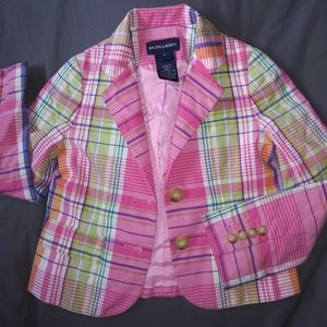 Girls pink plaid Ralph Lauren jacket sz 4 cute